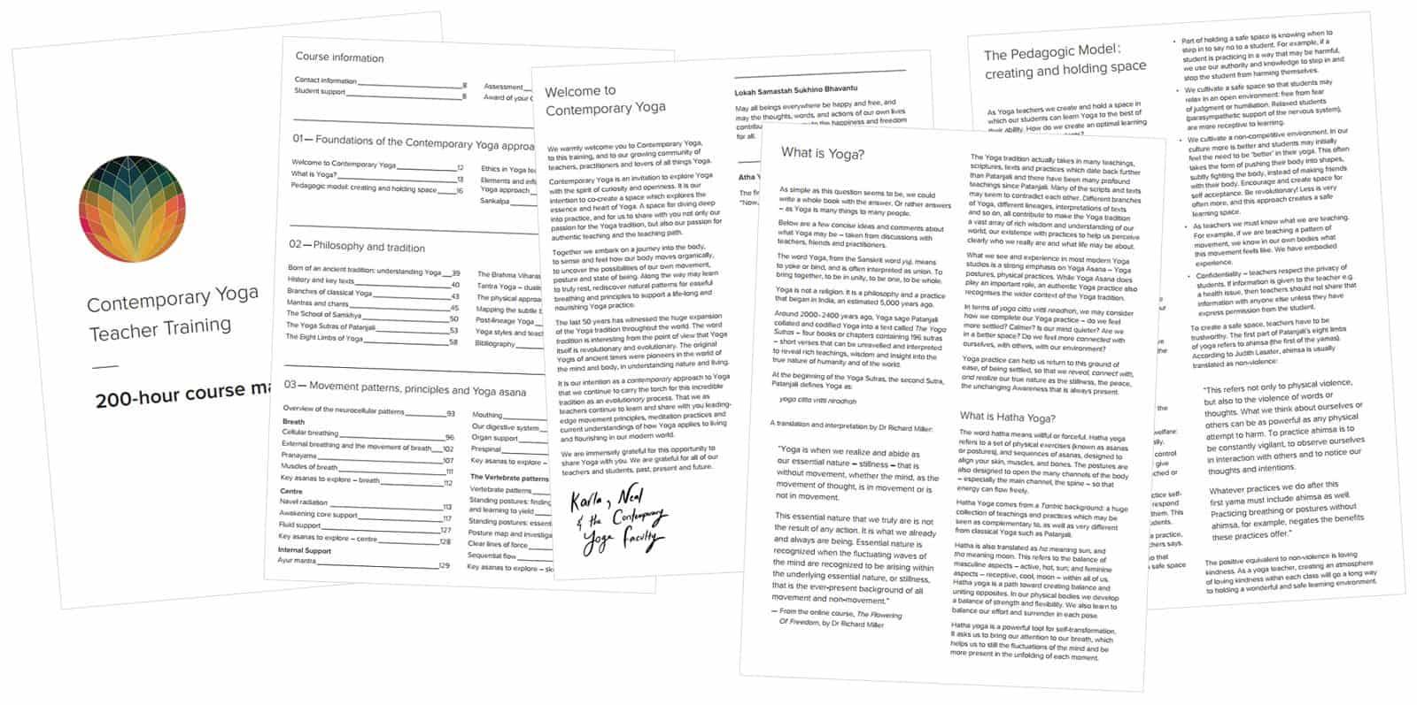 Contemporary Yoga Teacher Training Manual, Sample Pages